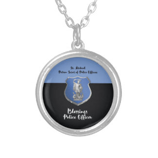 St. Michael Blessings to New Police Officer Silver Plated Necklace