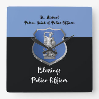 St. Michael Blessings to New Police Officer Square Wall Clock