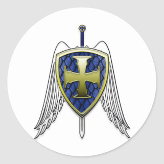 St Michael - Dragon Scale Shield Classic Round Sticker