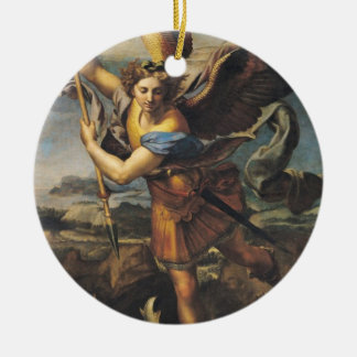 St. Michael Overwhelming the Demon, 1518 Round Ceramic Ornament