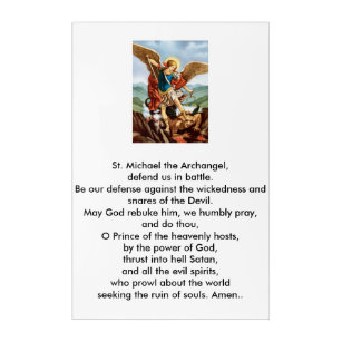picture about St. Michael the Archangel Prayer Printable titled St. Michael the Archangel Acrylic Print
