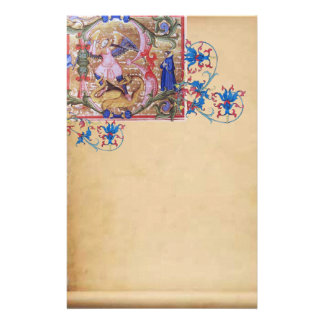 St. Michael the Archangel Antique Floral Parchment Stationery