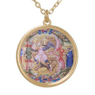St. Michael the Archangel Monogram Antique Floral Gold Plated Necklace