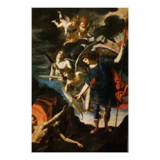 St Michael the Archangel Saving Souls in Purgatory Poster