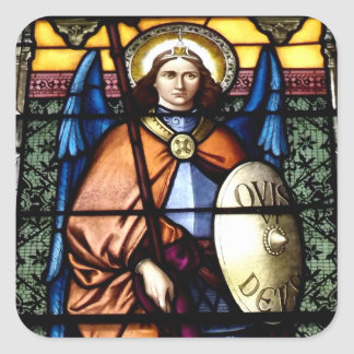 St. Michael The Archangel Stained Glass Window Square Sticker