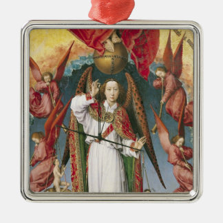 St. Michael Weighing the Souls Silver-Colored Square Ornament