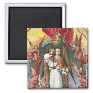 St. Michael Weighing the Souls Square Magnet