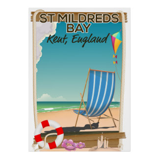St Mildreds Bay Kent England travel poster