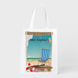 St Mildreds Bay Kent England travel poster Reusable Grocery Bag
