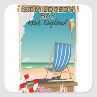 St Mildreds Bay Kent England travel poster Square Sticker