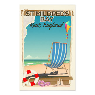 St Mildreds Bay Kent England travel poster Stationery