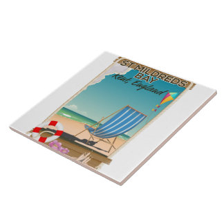 St Mildreds Bay Kent England travel poster Tile