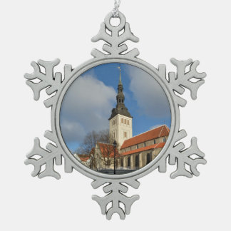 St. Nicholas' Church, Tallinn, Estonia Snowflake Pewter Christmas Ornament