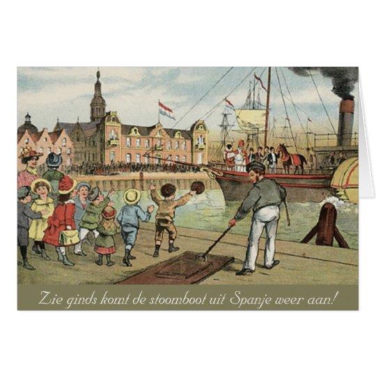 St. Nick's Day Dutch Sinterklaas Steamboat Vintage Card