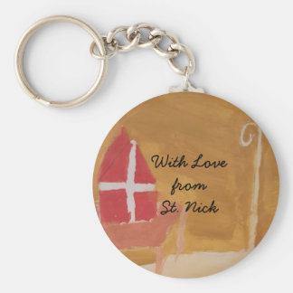 St. Nick's Day Dutch Sinterklaas  Watercolor Miter Basic Round Button Keychain