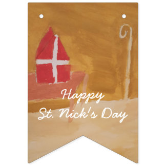 St. Nick's Day Dutch Sinterklaas Watercolor Miter Bunting Flags