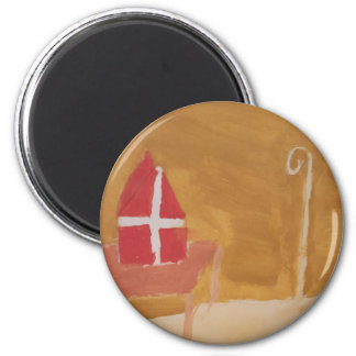 St. Nick's Day Dutch Sinterklaas  Watercolor Miter Magnet