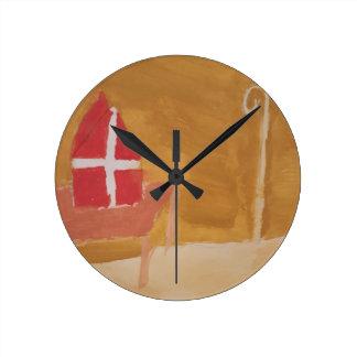 St. Nick's Day Dutch Sinterklaas  Watercolor Miter Round Clock