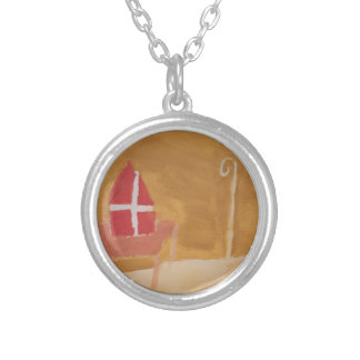 St. Nick's Day Dutch Sinterklaas  Watercolor Miter Silver Plated Necklace