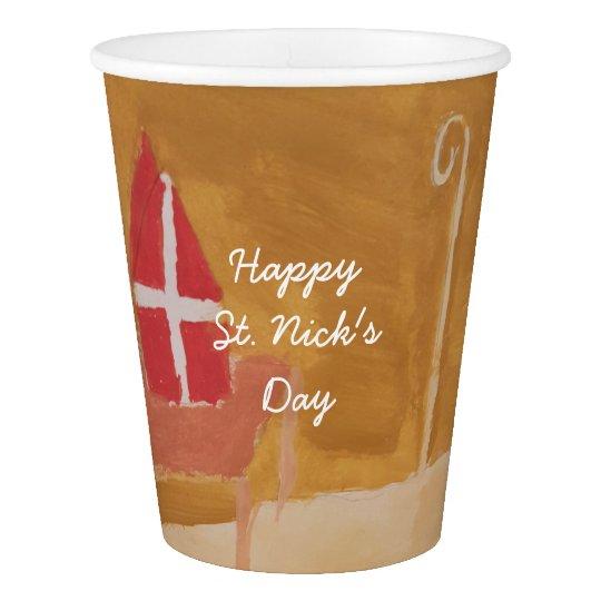 St. Nick's Day Dutch Sinterklaas Watercolor Mitre Paper Cup