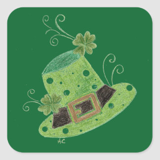 St-Paddy green leprechaun's polka dots hat Square Sticker