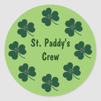 St. Paddy's Crew Shamrocks Round Sticker