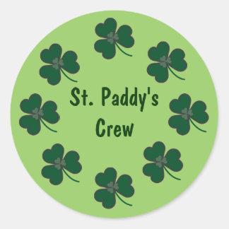 St. Paddy's Crew Shamrocks Round Sticker