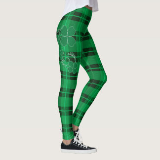 St. Paddy's Day Green Plaid with Clovers Leggings