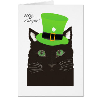 St Paddy's Day, Hey Sugar, Sweetheart, Cat w/Hat Card