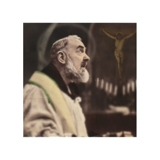 ST PADRE PIO CELEBRATING MASS WOOD PRINT