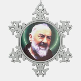 St Padre Pio pewter snowflake ornament