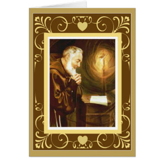 St. Padre Pio Priest Crucifix Altar Card