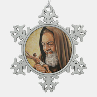 St. Padre Pio with Crucifix Snowflake Pewter Christmas Ornament
