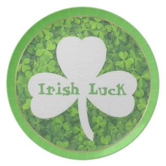 ST PATRIC+S DAY , IRISH LUCK, SHAMROCK LOGO DINNER PLATES