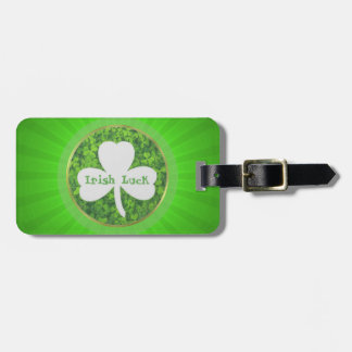 ST PATRIC+S DAY , IRISH LUCK, SHAMROCK LOGO LUGGAGE TAG
