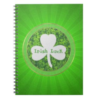 ST PATRIC+S DAY , IRISH LUCK, SHAMROCK LOGO NOTEBOOK