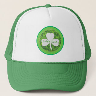 ST PATRIC+S DAY , IRISH LUCK, SHAMROCK LOGO TRUCKER HAT