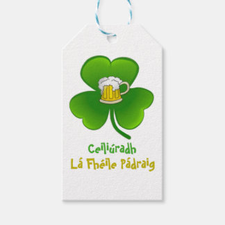 ST PATRIC+S DAY SHAMROCK +  BEER GIFT TAGS