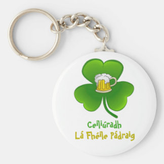 ST PATRIC+S DAY SHAMROCK +  BEER KEYCHAIN