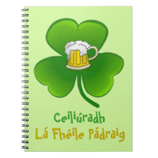ST PATRIC+S DAY SHAMROCK +  BEER NOTEBOOK