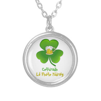 ST PATRIC+S DAY SHAMROCK +  BEER SILVER PLATED NECKLACE