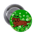 St. Patrick Day Dachshund Cartoon Pin