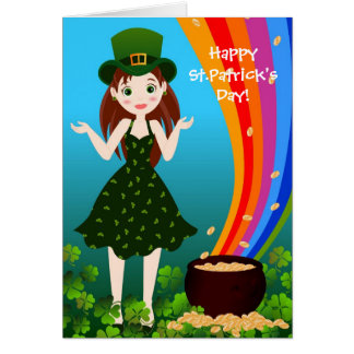 St Patrick Day girl Greeting Cards