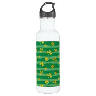 St Patrick Golden shamrock green stripes pattern 710 Ml Water Bottle