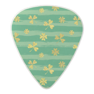 St Patrick Golden shamrock green stripes pattern Acetal Guitar Pick