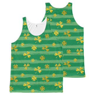 St Patrick Golden shamrock green stripes pattern All-Over-Print Tank Top