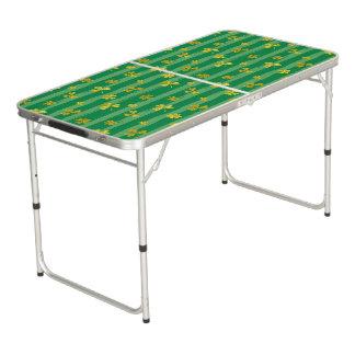 St Patrick Golden shamrock green stripes pattern Beer Pong Table