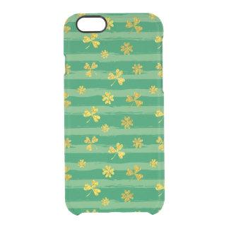 St Patrick Golden shamrock green stripes pattern Clear iPhone 6/6S Case