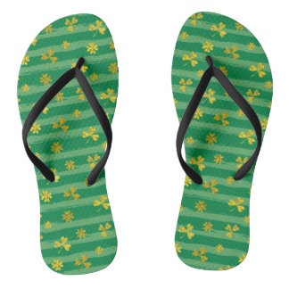 St Patrick Golden shamrock green stripes pattern Flip Flops