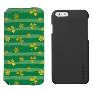 St Patrick Golden shamrock green stripes pattern Incipio Watson™ iPhone 6 Wallet Case